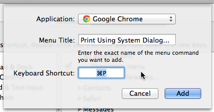 Override for Chrome's Print Shortcut